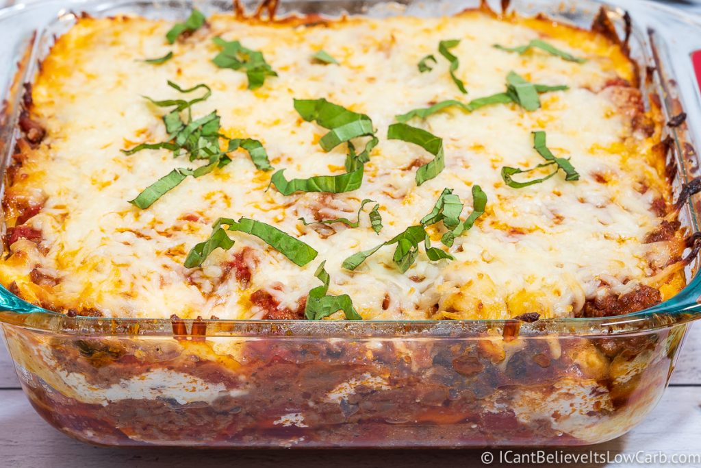 Close up of Keto Lasagna fresh out of the oven