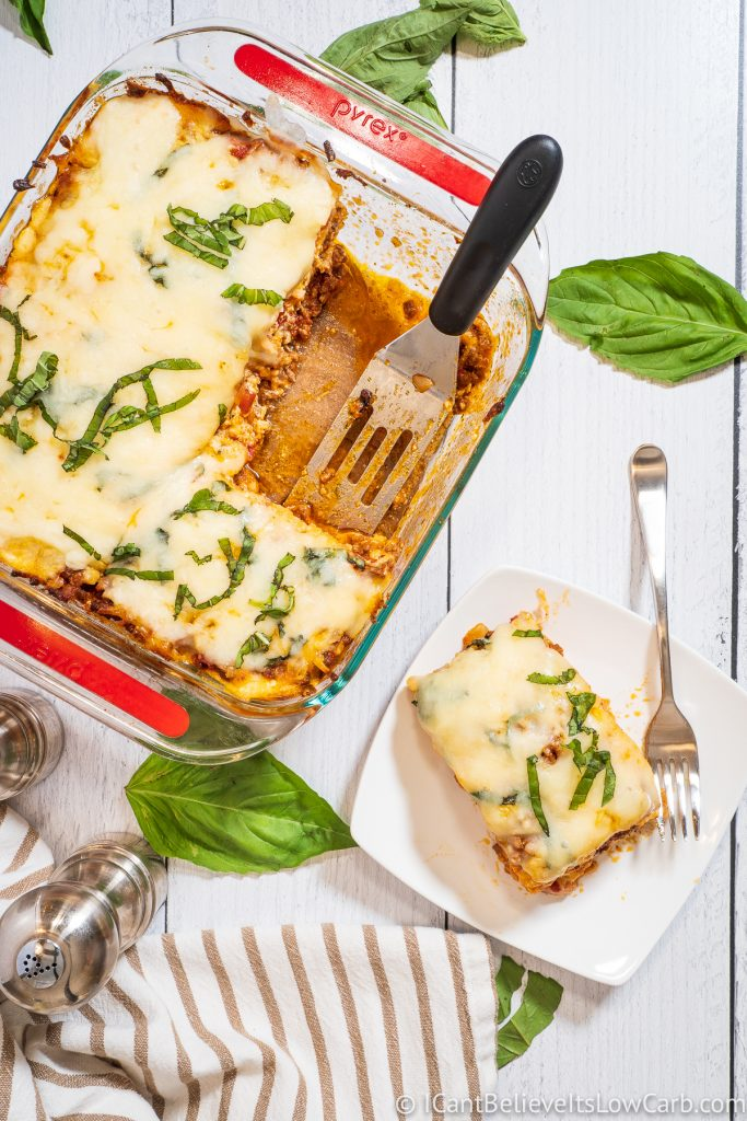 Pan of Keto Lasagna and a piece on a white plate