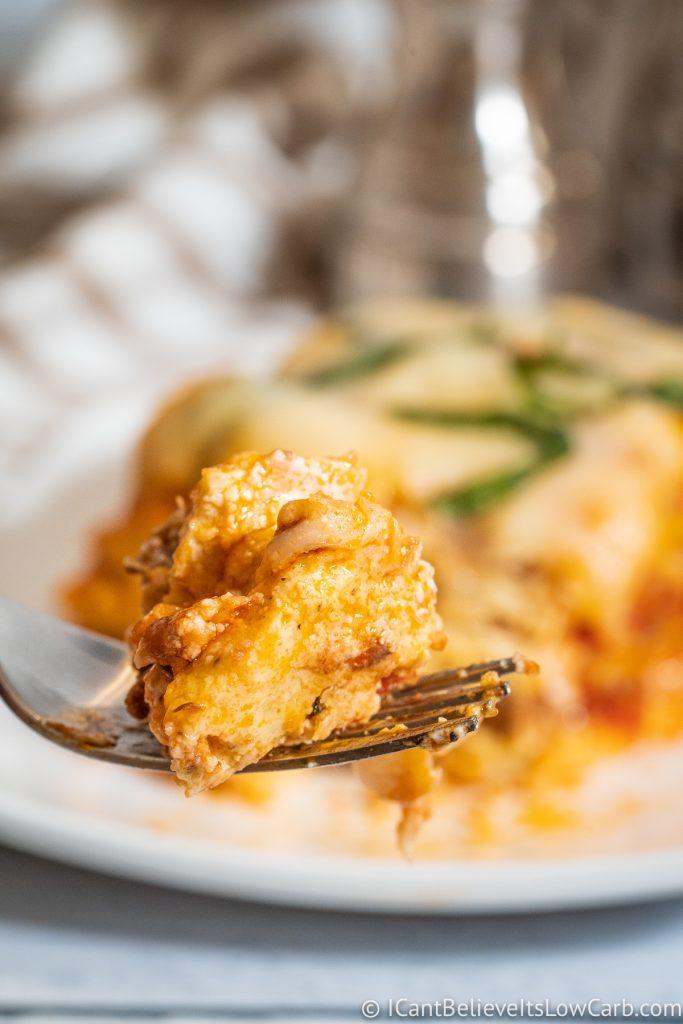 Keto Lasagna Noodles on a fork