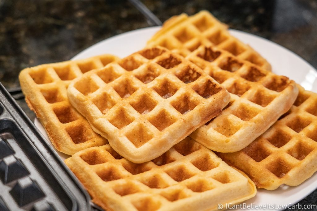 Cooked Almond Flour Waffles on a plate