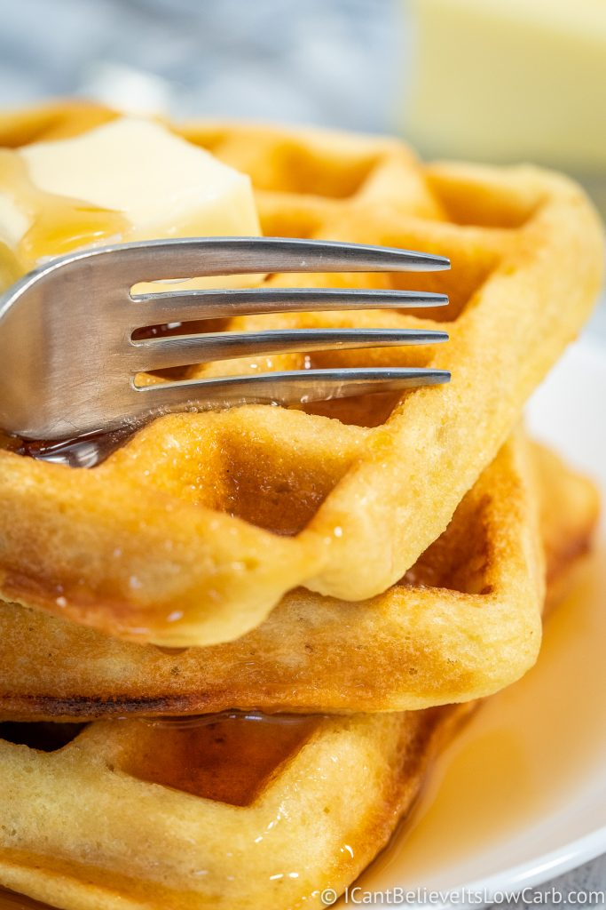 Cutting Keto Waffles with a fork