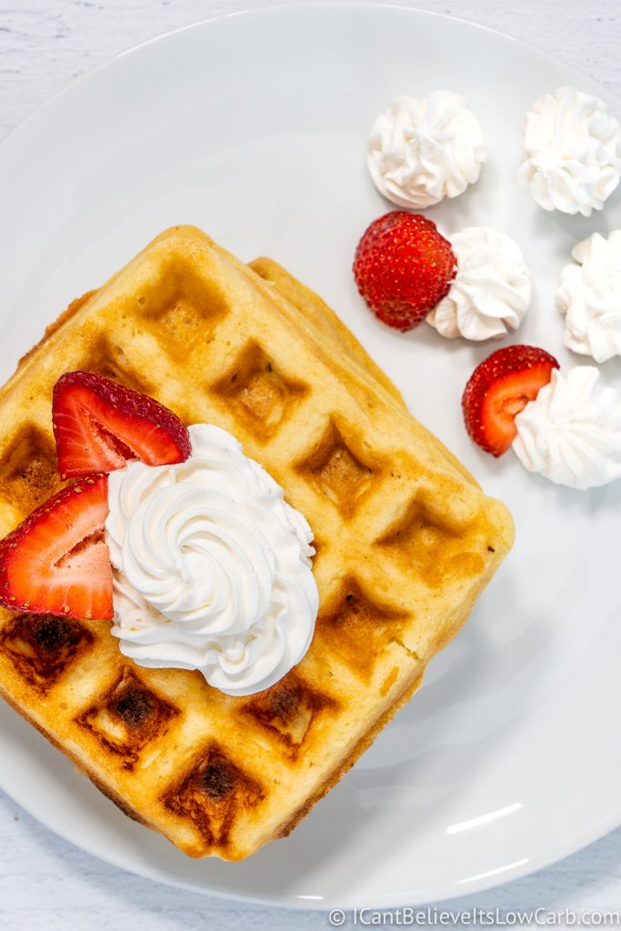 Almond Flour Waffles with whipped cream