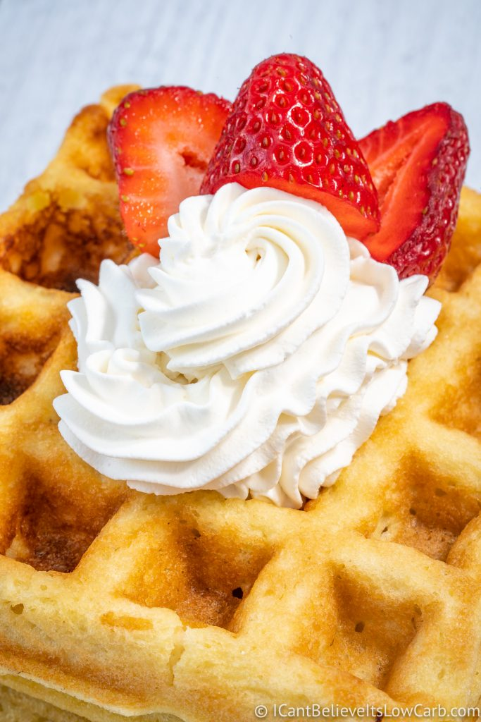Coconut Flour Waffles with whipped cream