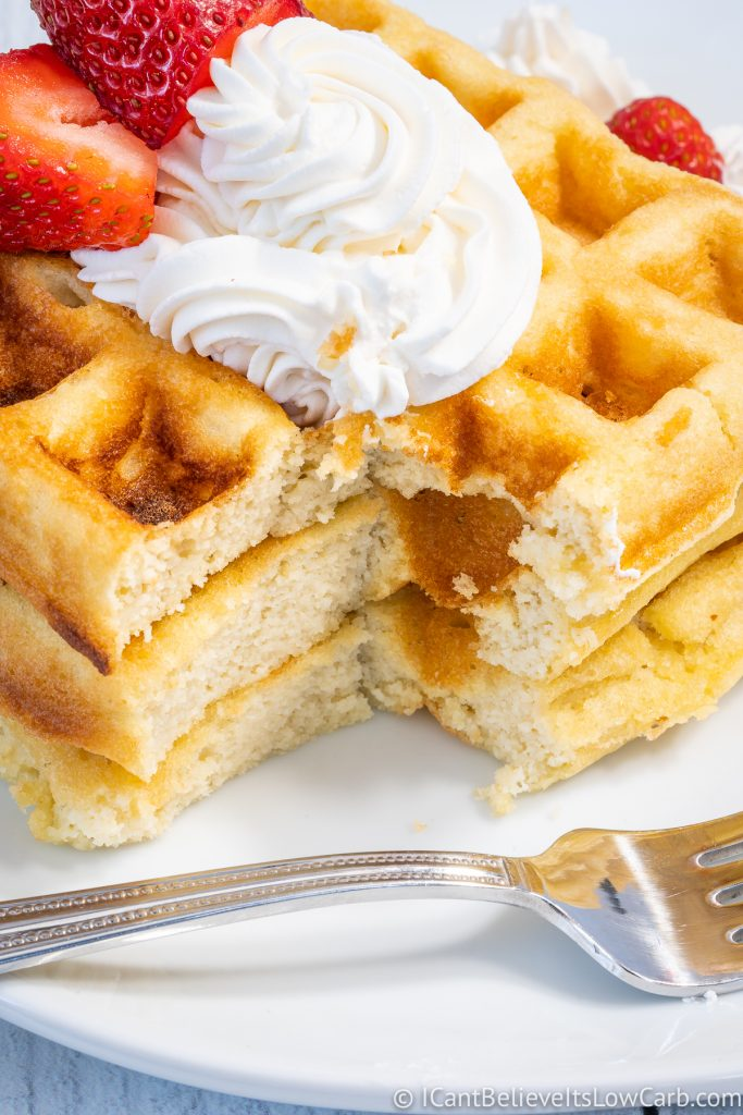cutting into low carb waffles