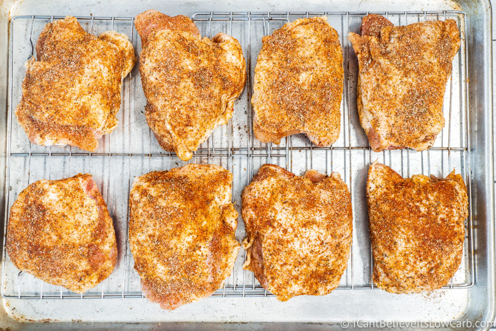 Chicken Thighs on wire rack before baking