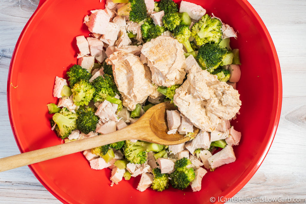 Chicken and broccoli mixed in a bowl