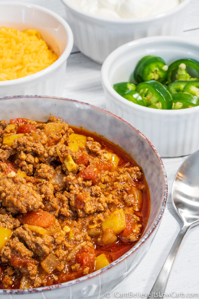 Keto Low Carb Chili in a bowl
