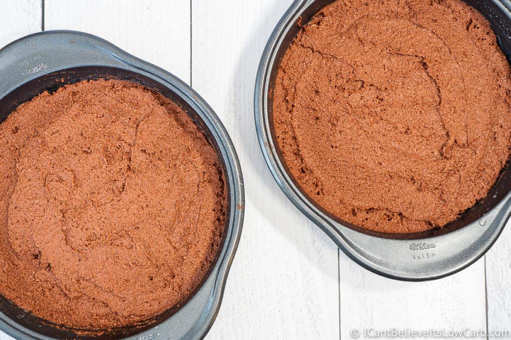 Two cake pans full of Keto Chocolate Cake batter