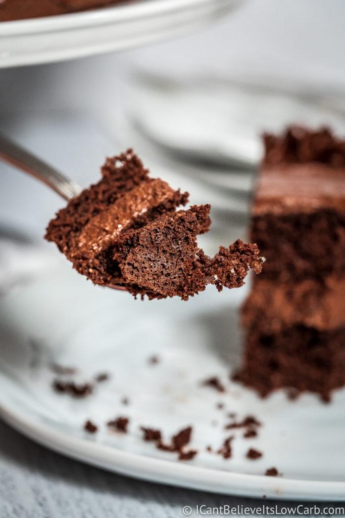 Almond Flour Keto Chocolate Cake on fork