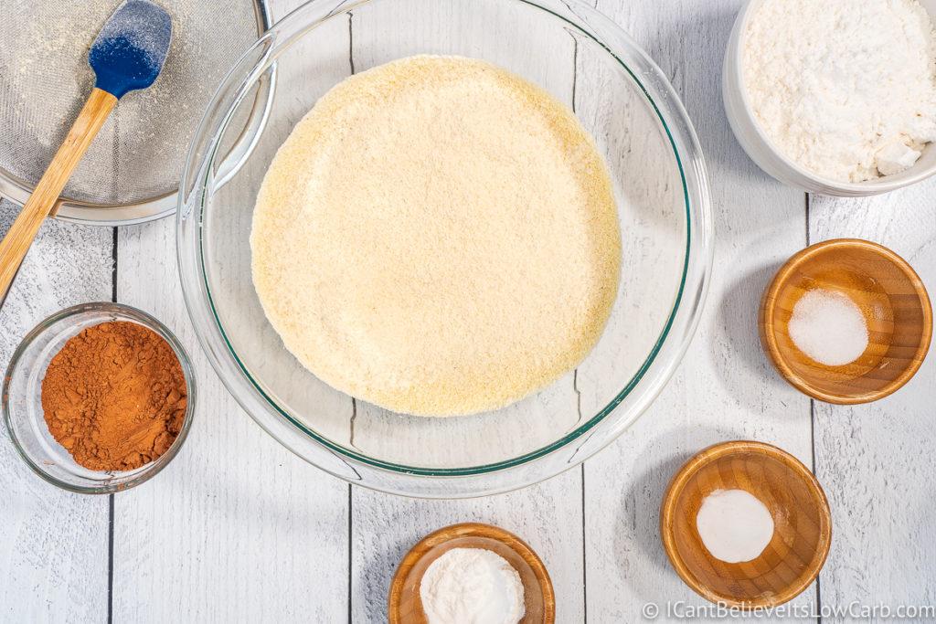 adding coconut flour to almond flour