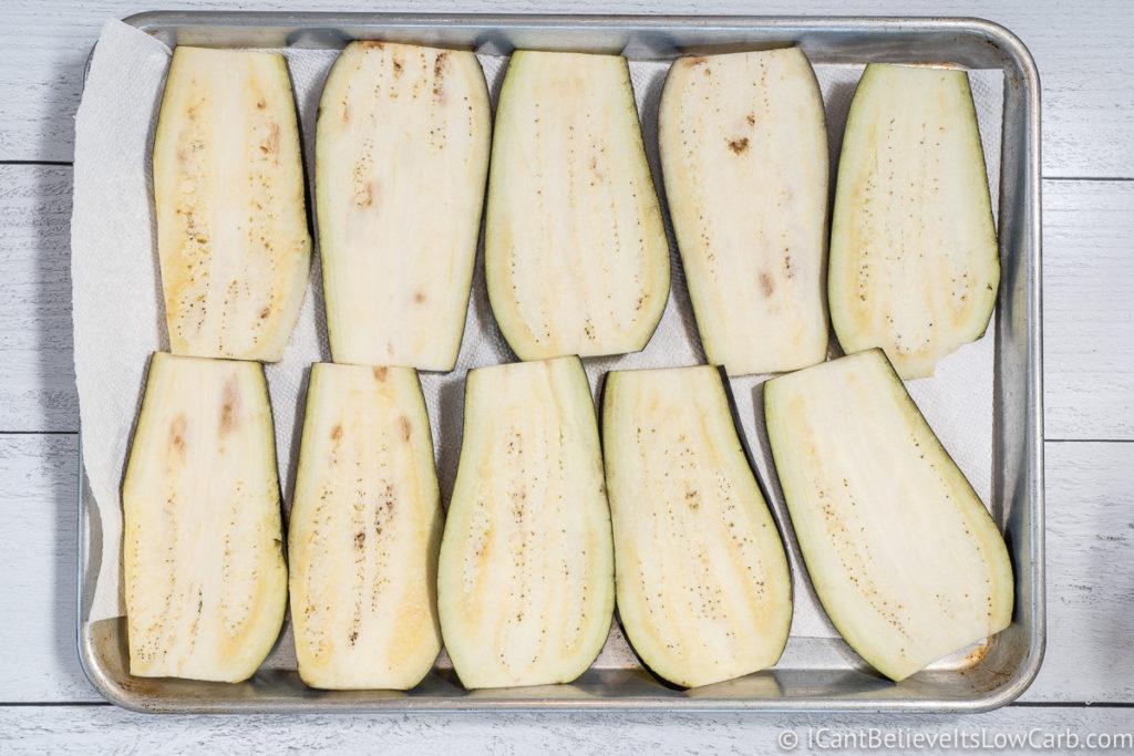 Eggplant slices on baking tray