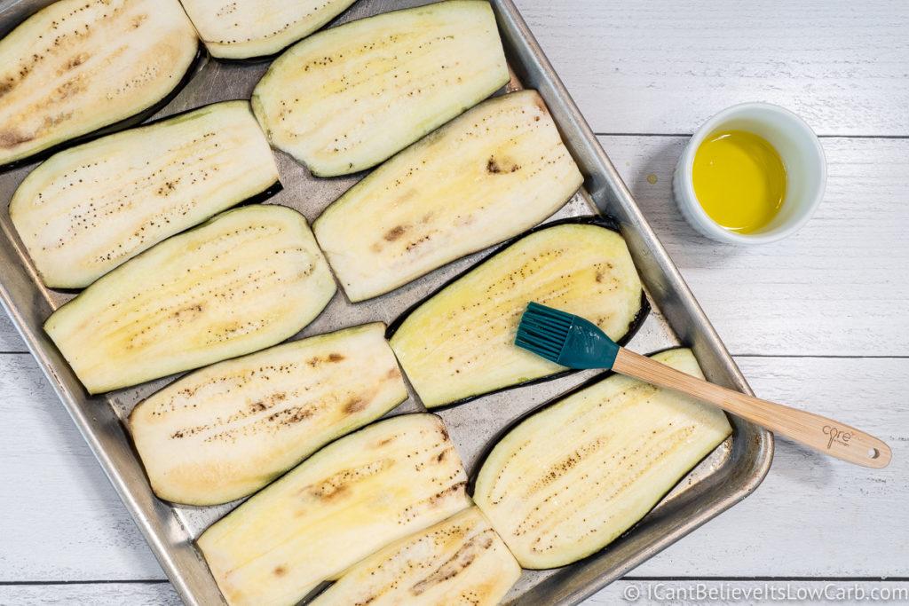 Brushing Eggplant olive oil