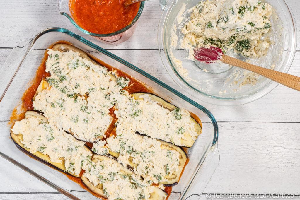 Spreading Eggplant Lasagna filling