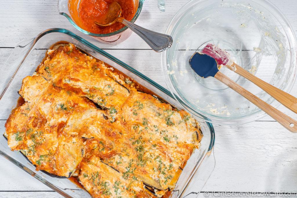 Top layer of Eggplant Lasagna