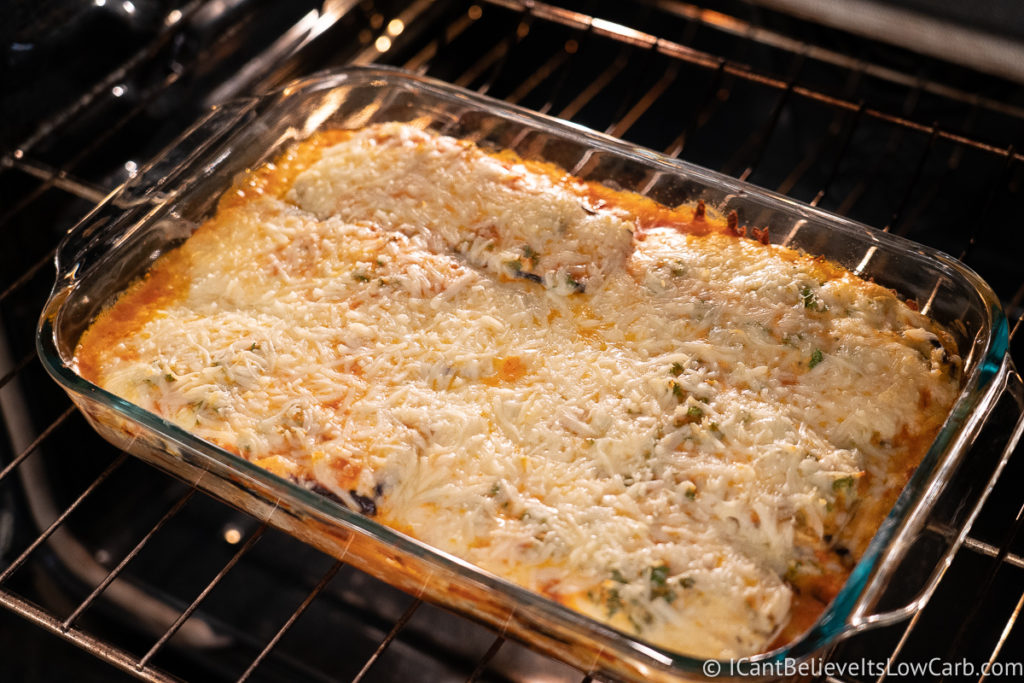 Eggplant Lasagna baking in the oven