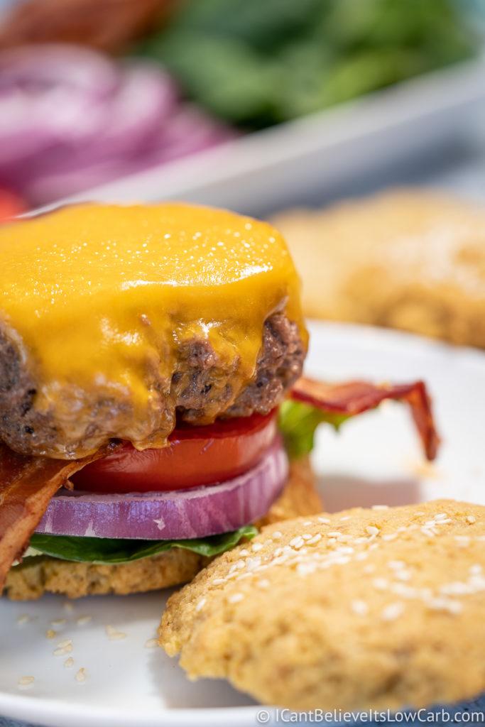 Big juicy burger with cheddar cheese
