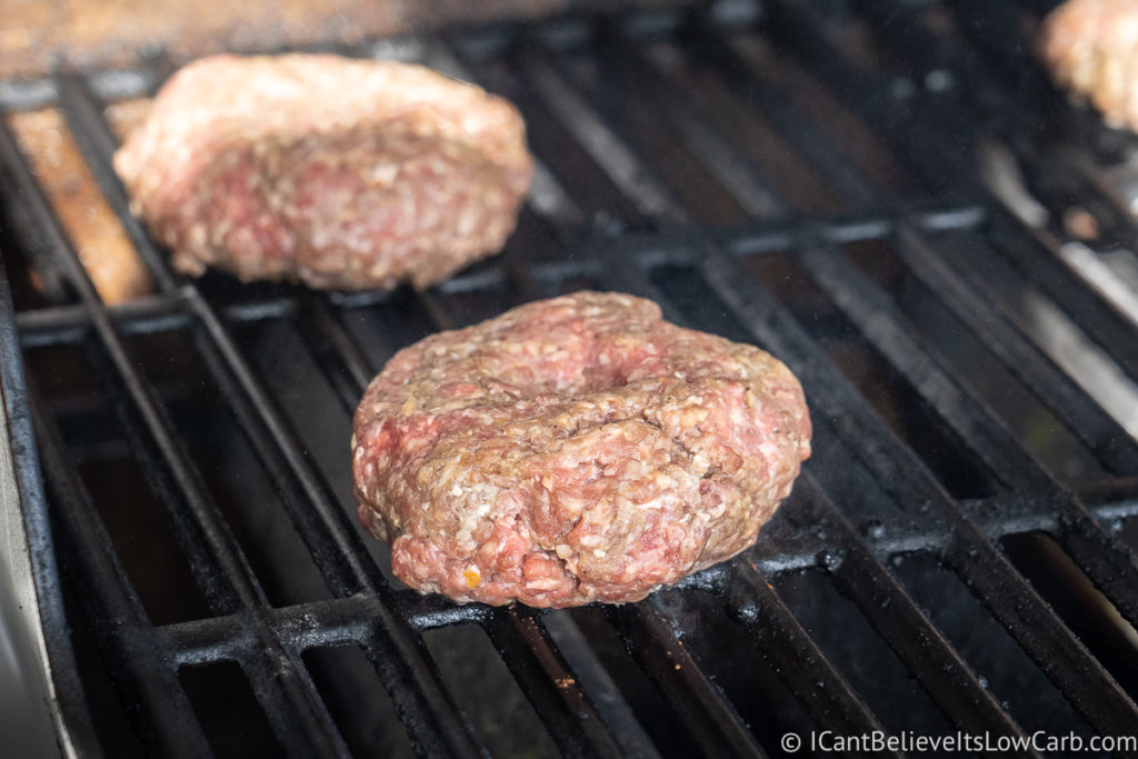 Cooking hamburger patties on the grill