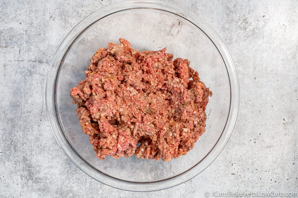 Mixing ground beef for Hamburgers