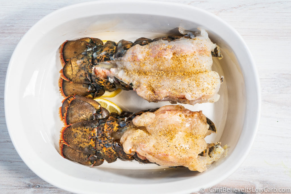 Uncooked Lobster Tails before baking in the oven