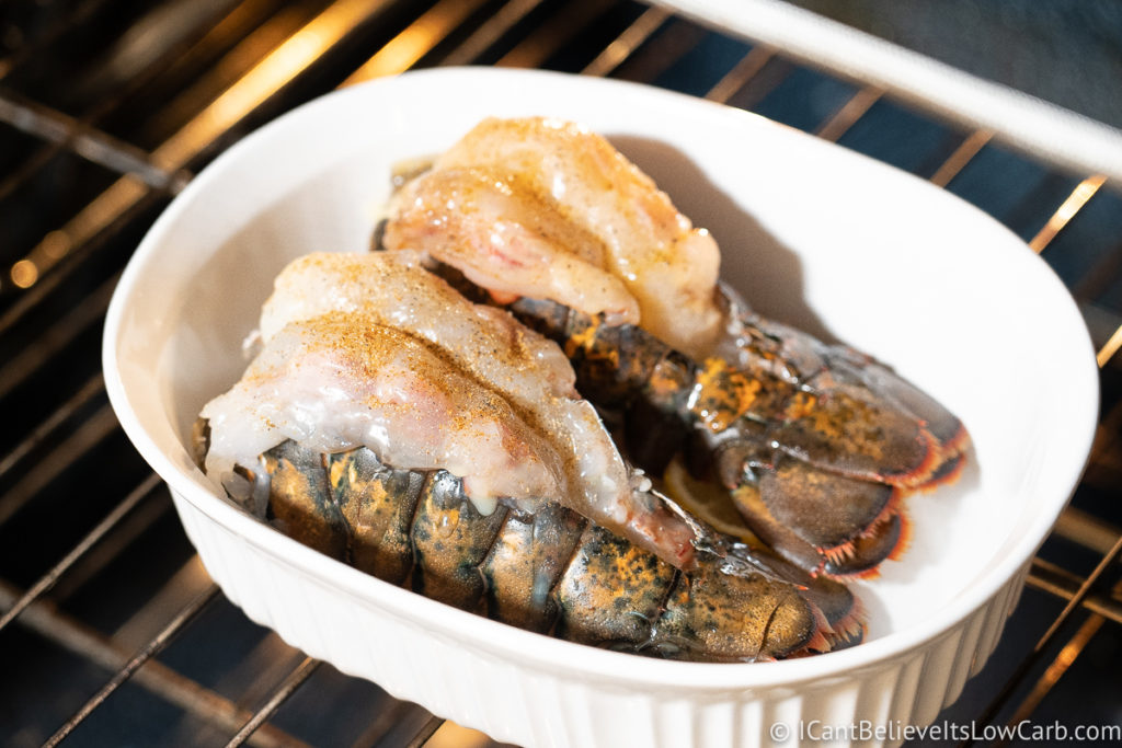 Two Lobster Tails baking in the oven
