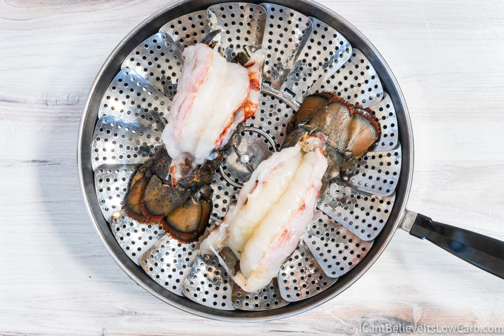 Lobster Tails in a steaming pan