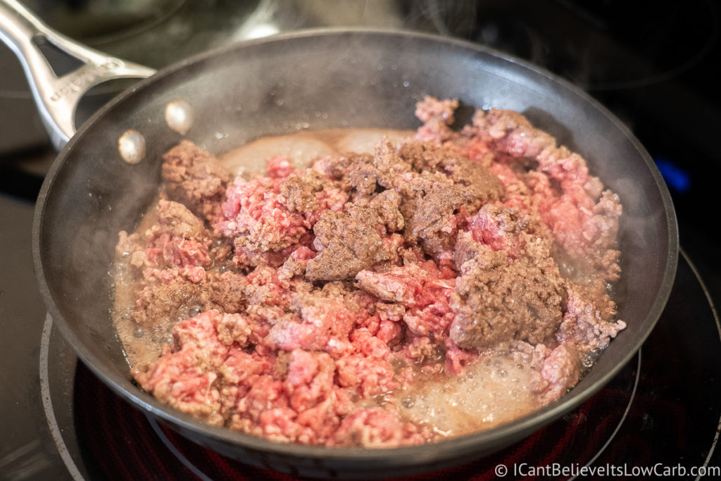 cooking ground beef on the stove