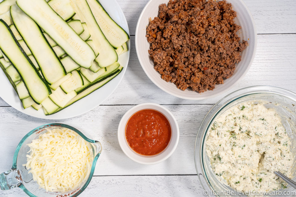 Ingredients for putting Zucchini Lasagna together