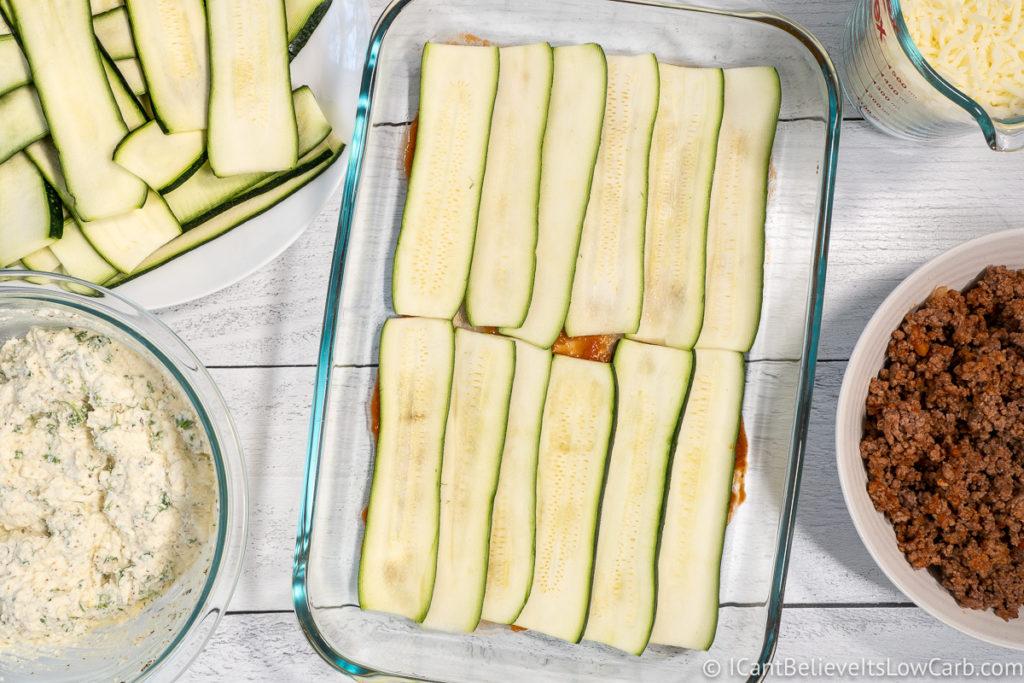 Layering Zucchini Lasagna Noodles in dish