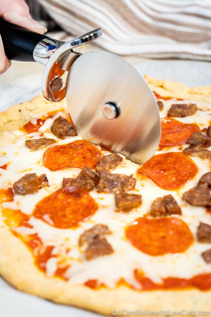 Cutting Almond Flour Pizza