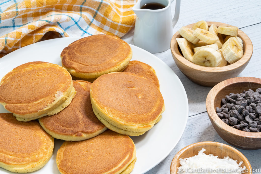 Coconut Flour Pancakes small bowls of chocolate chips and bananas