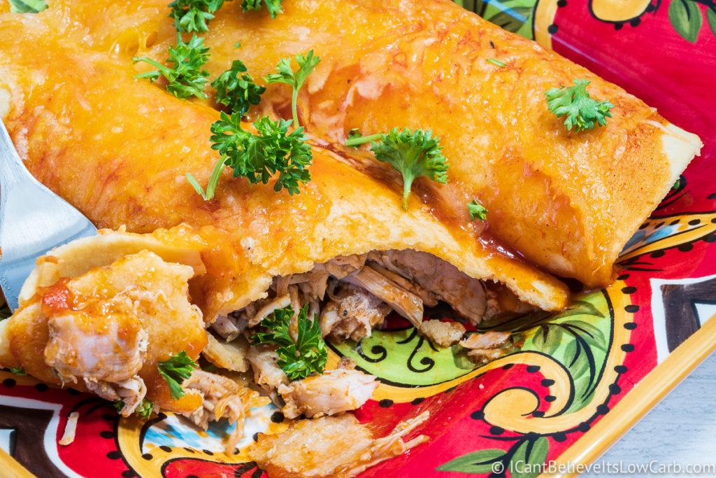 inside Keto Chicken Enchiladas