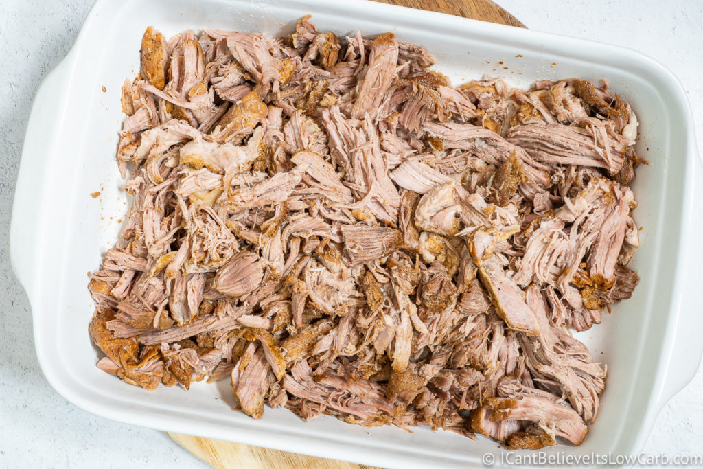 Instant Pot Pulled Pork in a serving dish