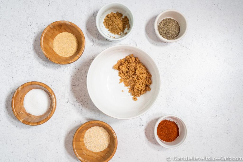 adding brown sugar to the bowl