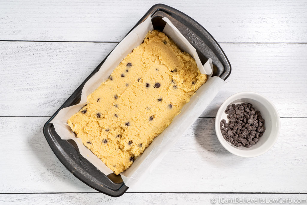 Filling the loaf pan with low carb Banana Bread