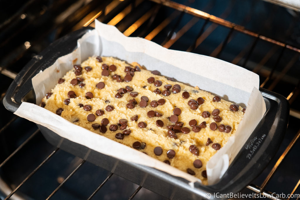 Baking Low Carb Banana Bread in the oven