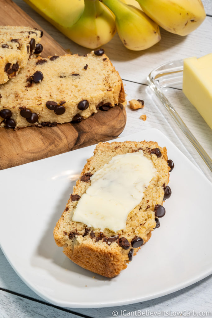 Keto Banana Bread with butter spread