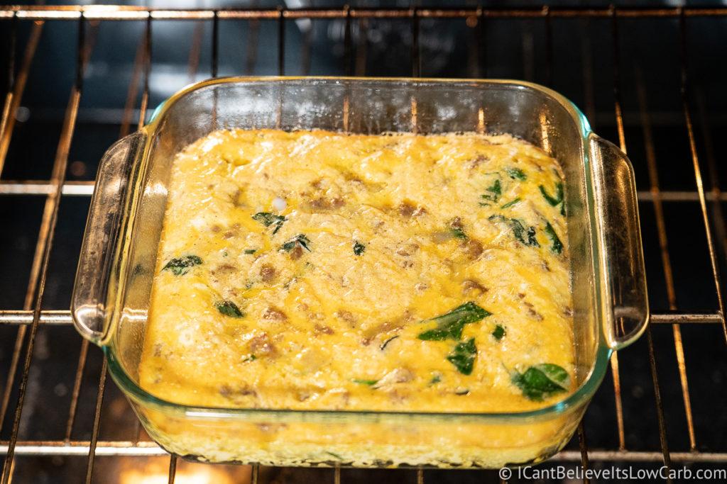 Baking Keto Breakfast Casserole in the oven
