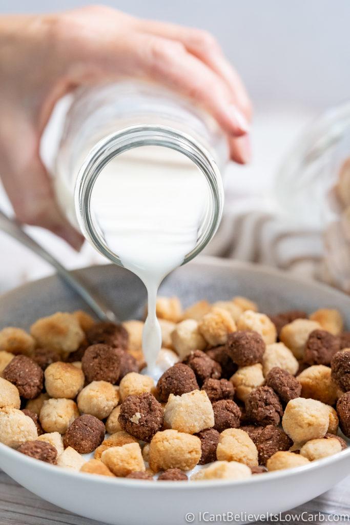Pouring milk over Keto Cereal Recipe