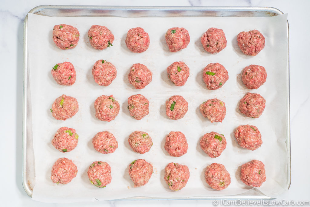 Keto Meatballs before cooking