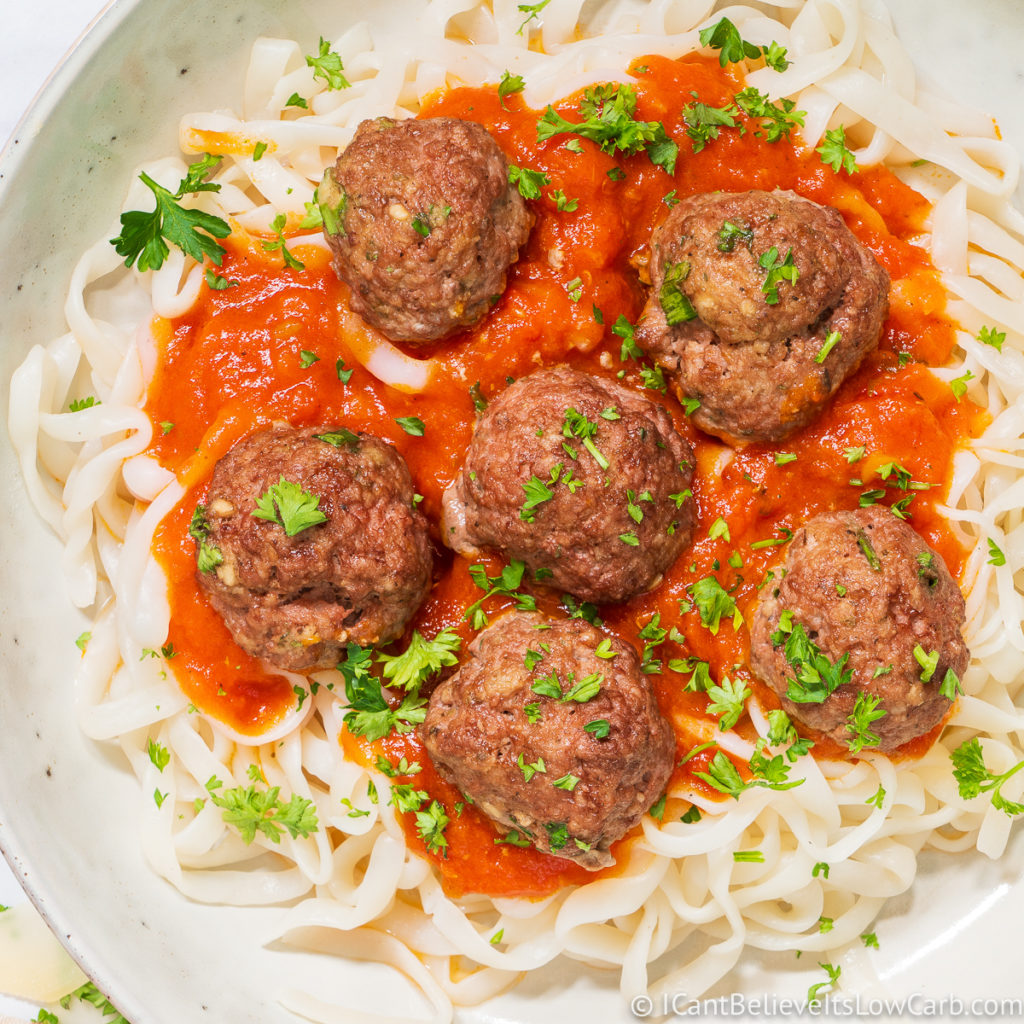 Keto Meatballs over low carb pasta
