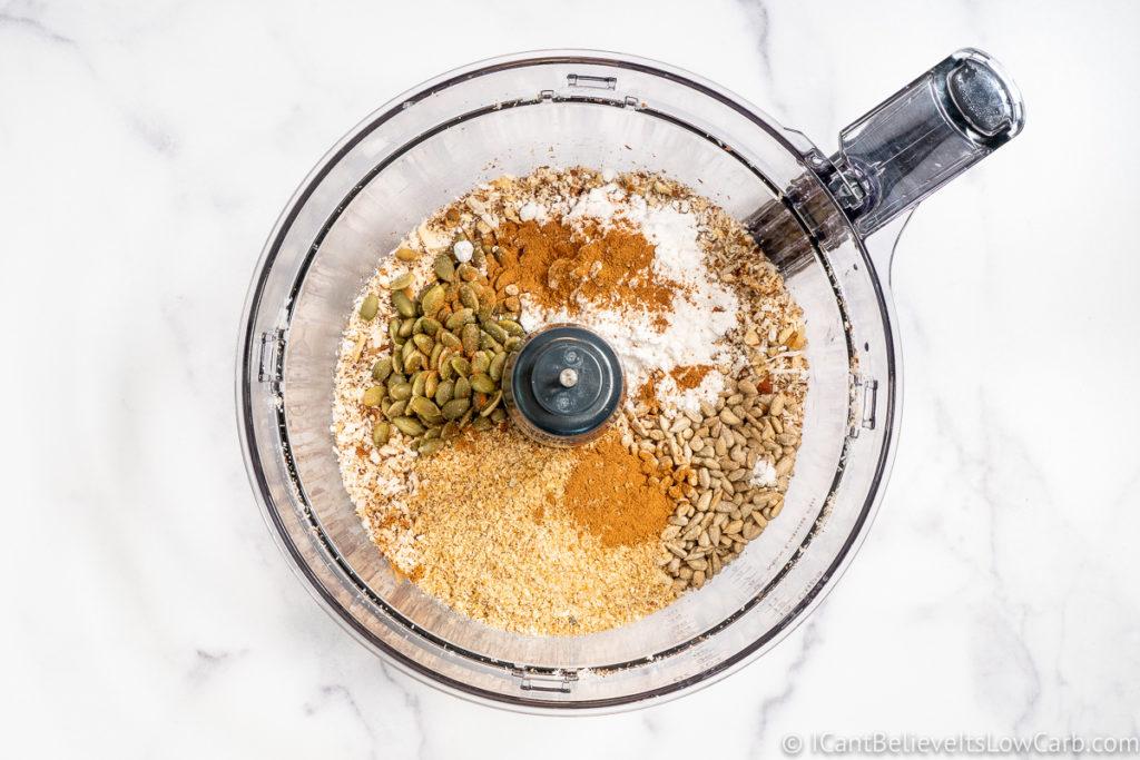 mixing low carb Granola ingredients
