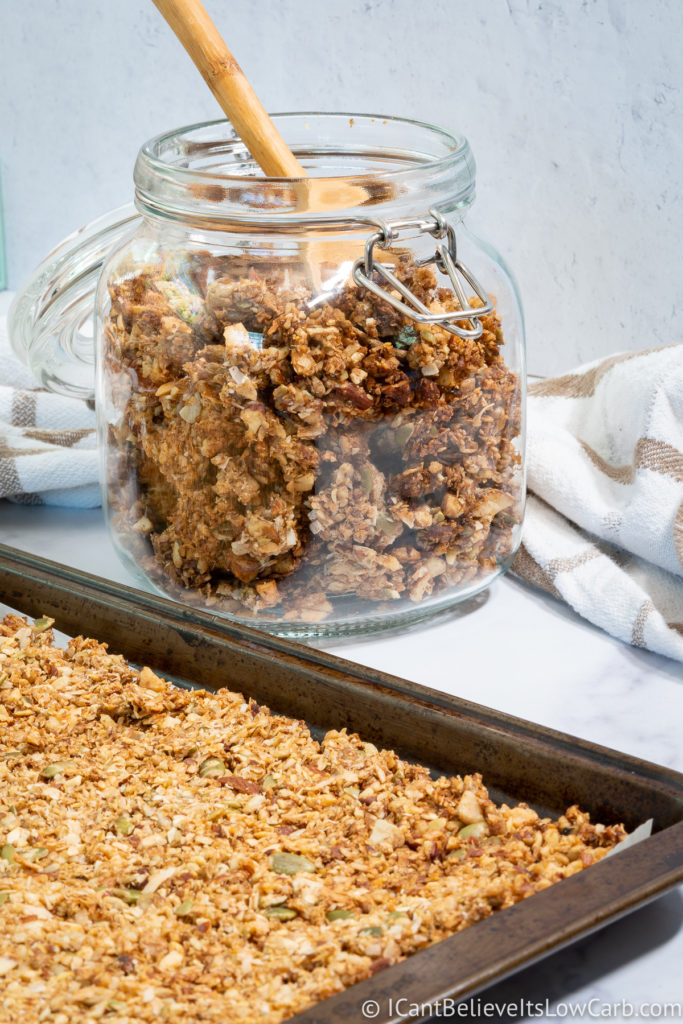 Keto Granola in a jar and on a pan