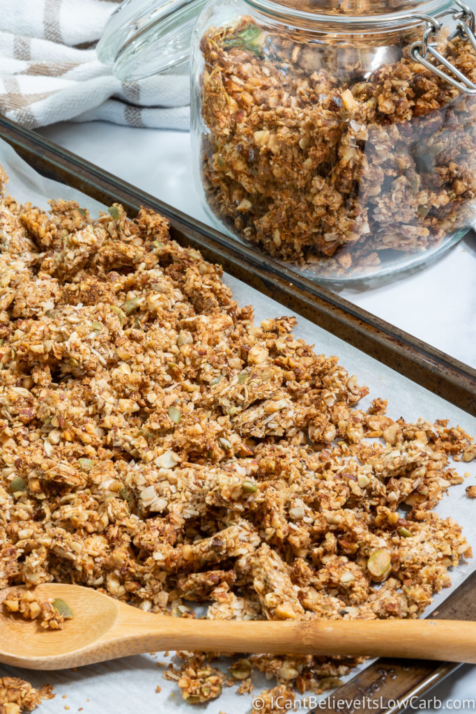 Low Carb Granola clusters on sheet pan