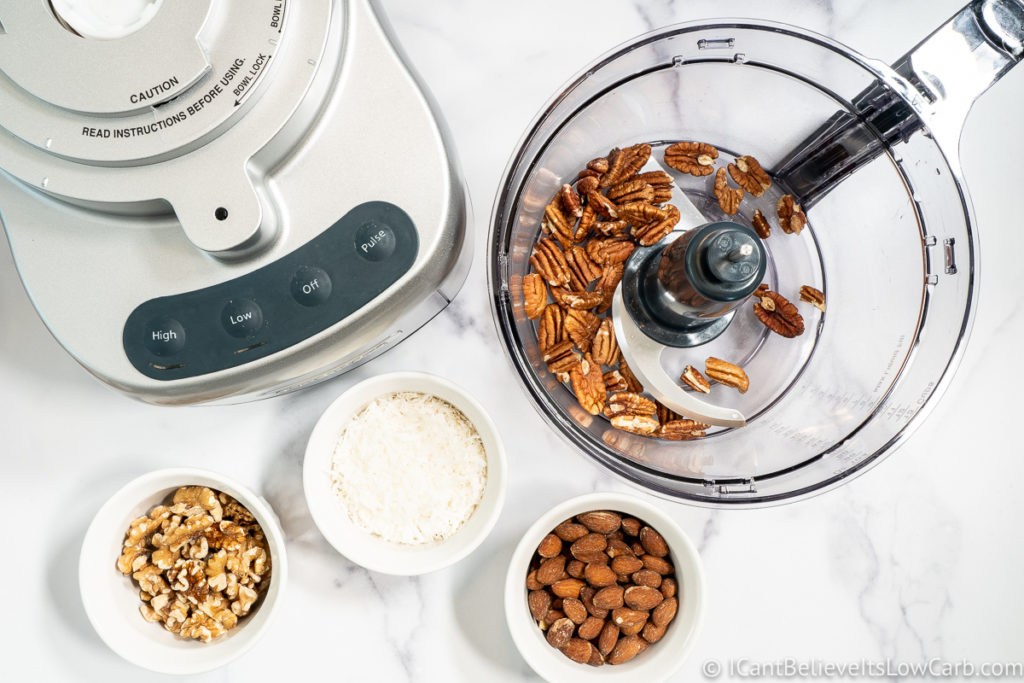 adding pecans to the blender