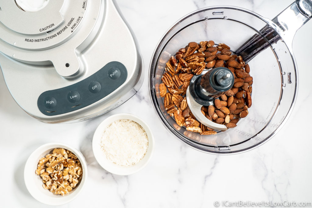adding almonds to the blender