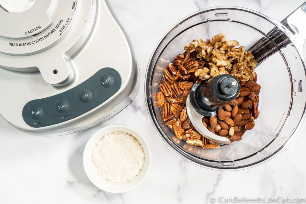 adding walnuts to the blender