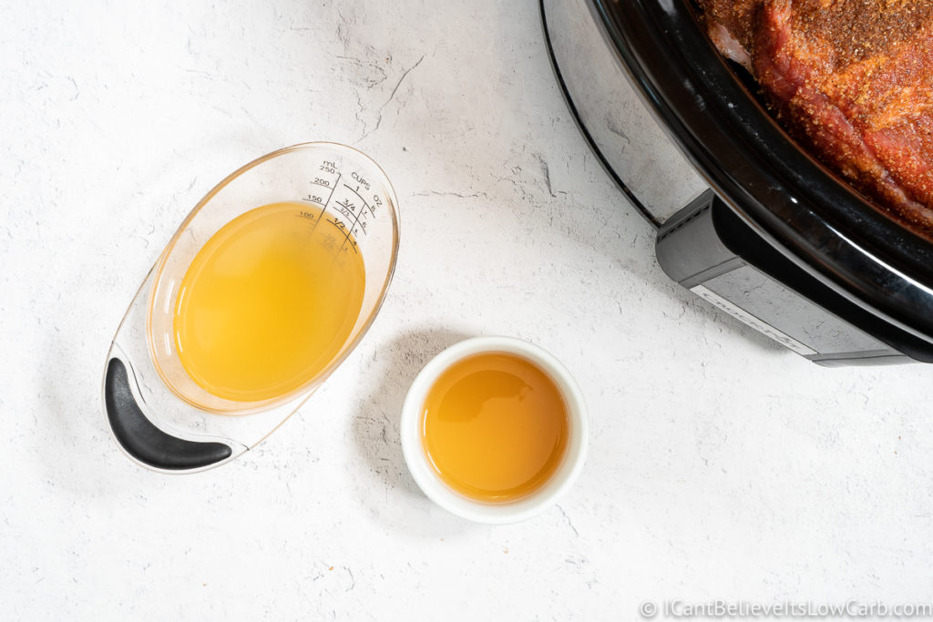 chicken broth and apple cider vinegar before putting them in the Slow Cooker