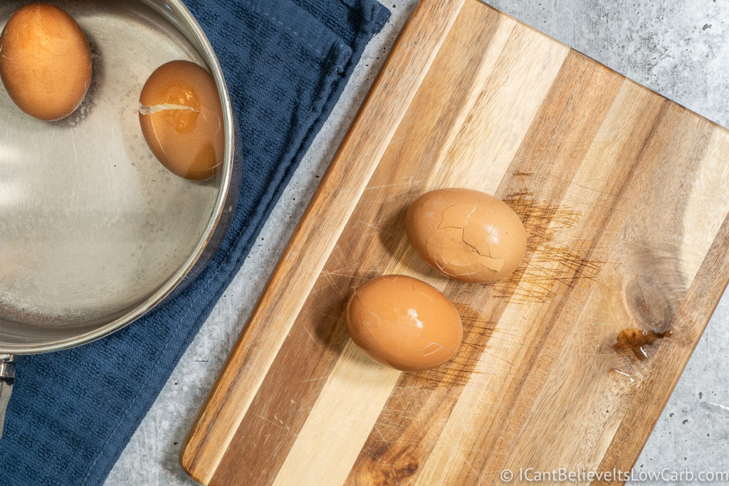 Soft Boiled Eggs with the shells cracked