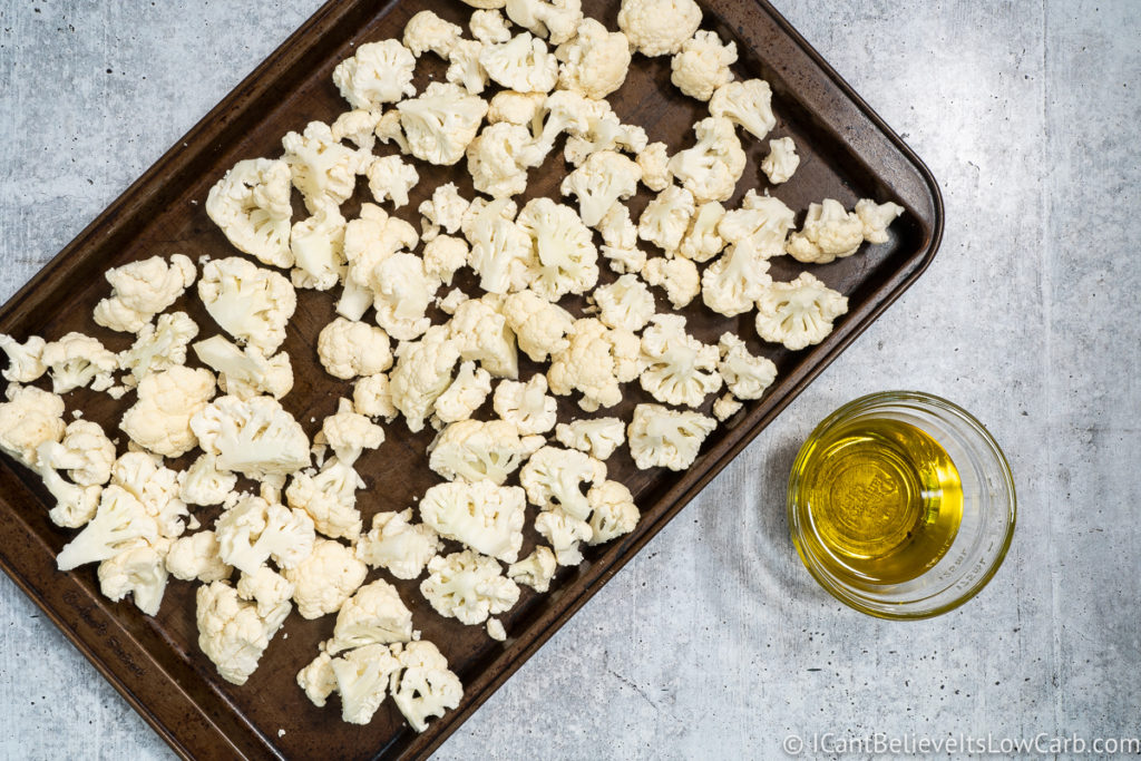 Cauliflower on a baking tray