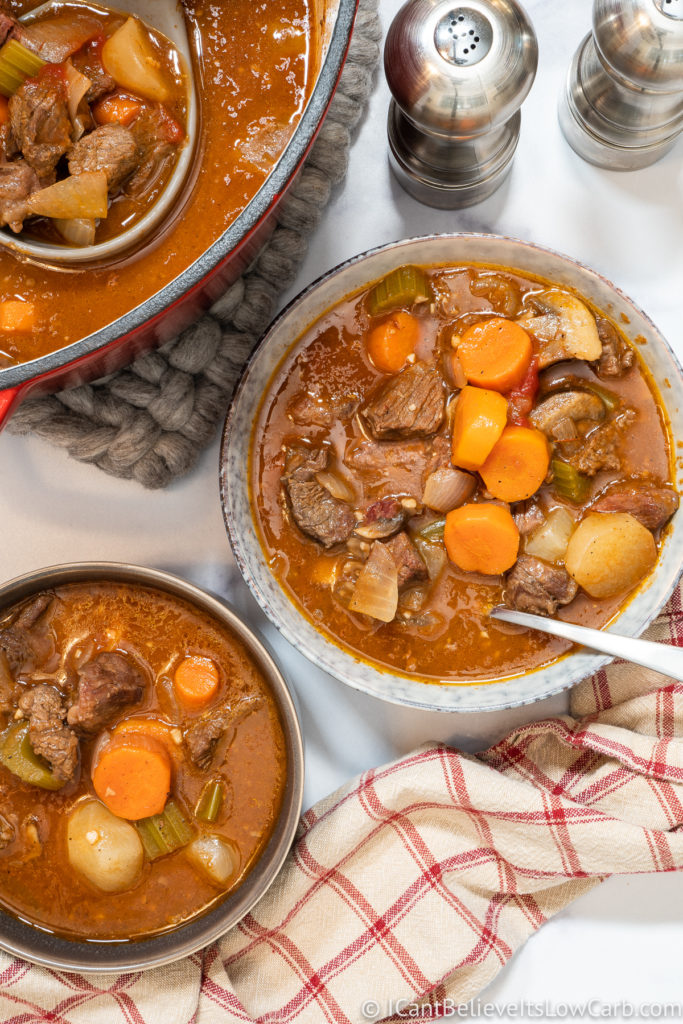 Two Bowls of Low Carb Beef Stew